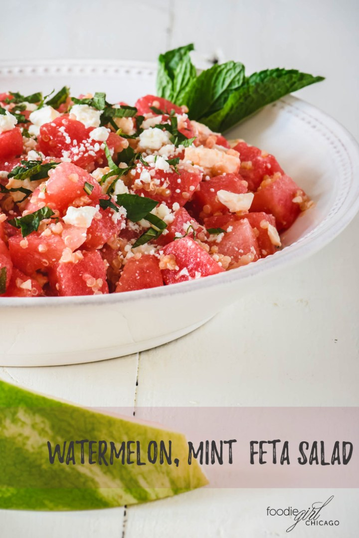 This Watermelon, Feta & Mint salad gets the added twist of some quinoa for a perfect summer party or picnic side dish!