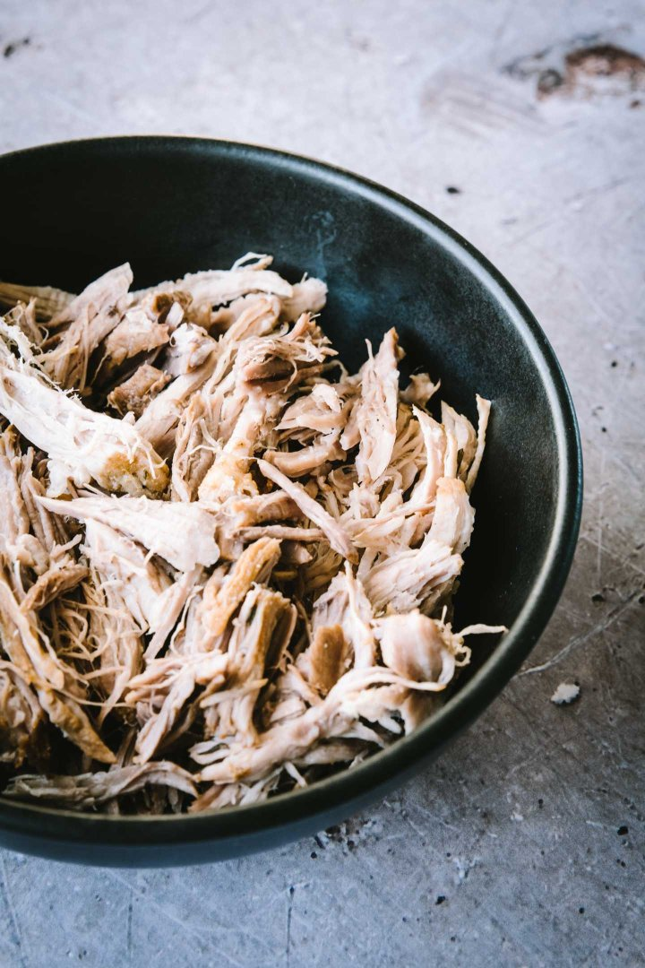 Bowl of cooked pulled pork