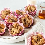 French toast muffins in pink and white muffin tin liners