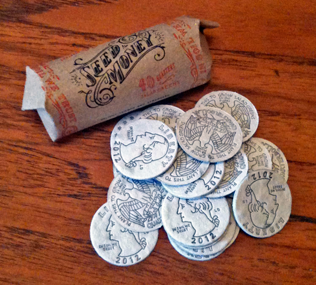 """Seed Money. Hand-illustrated and letterpress printed """"coins"""" embedded with seeds."""