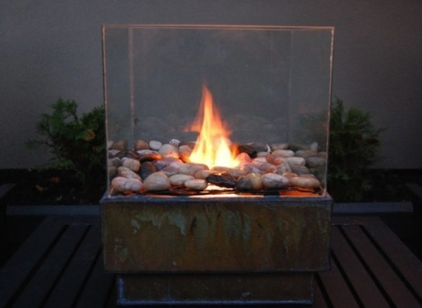 DIY glass enclosed fire pit