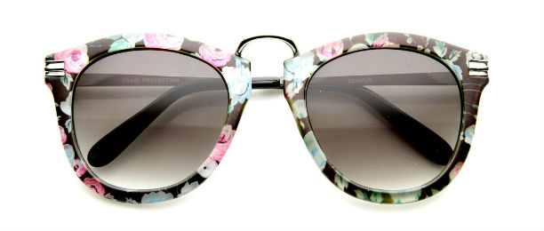 zeroUV Retro Floral Print Round Sunglasses