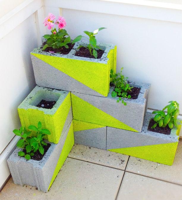 Neon Concrete Block Planter