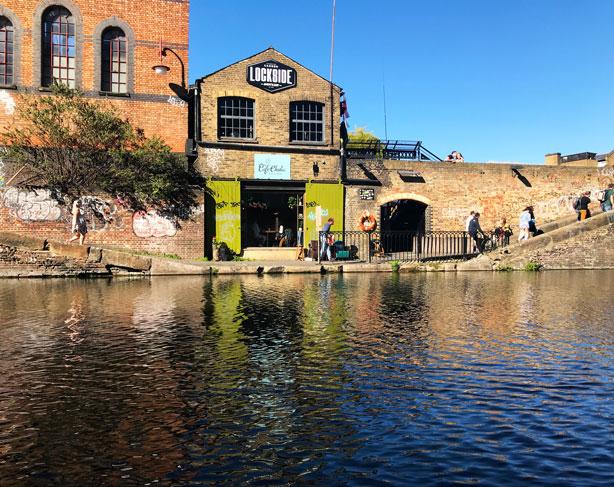 Lockside on canal in London's Camden Market.