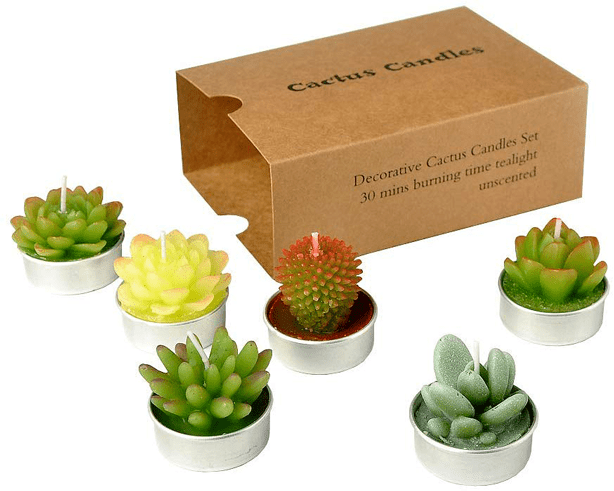 set_six_succulent_cactus_tealight_candles_gift_set
