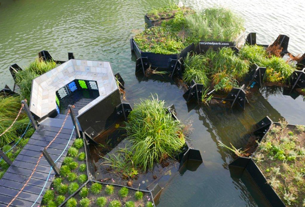 Rotterdam floating park made entirely of recycled plastic waste.