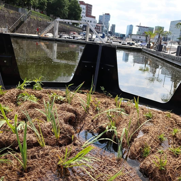 Floating park's bricks made entirely of retrieved plastic waste double as planters.