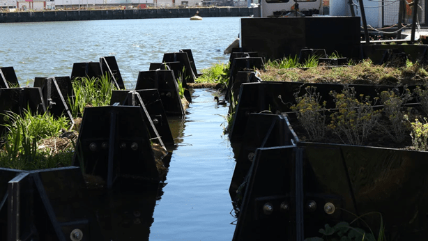 Bricks for floating park made entirely of recycled plastic debris.