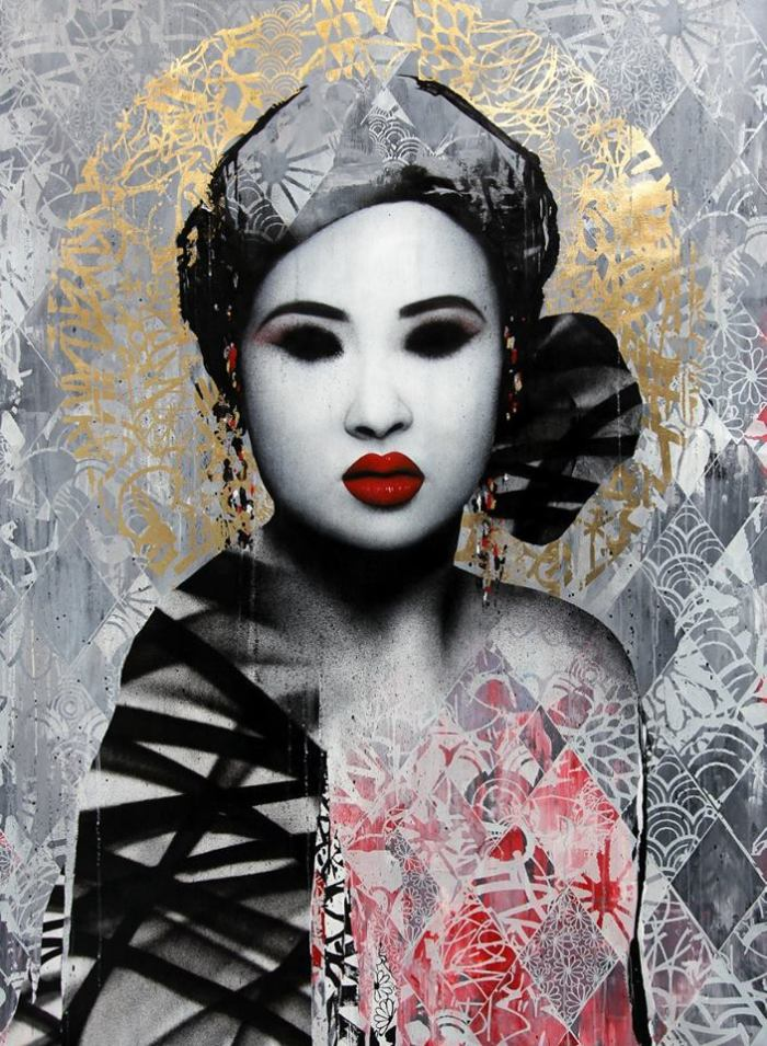 """Masquerade"" acrylic paint, screen print, spray paint, ink & 24 carat gold foil on linen"