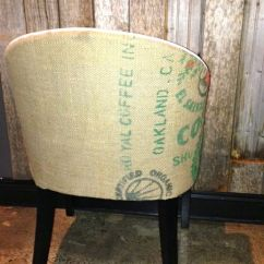 White Faux Leather Chair Bubble On Stand + Burlap Dining - Urban Kitchen Shop