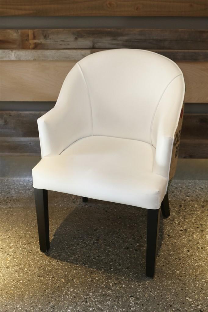 White Faux Leather  Burlap Dining Chair  Urban Kitchen Shop
