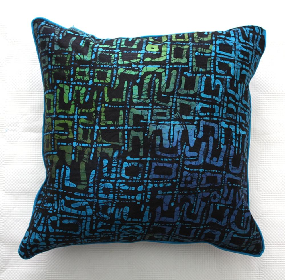 Blue Green African Batik Cushion