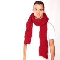 Chunky Knit Red Scarf- Urbanknit