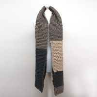 Grey and Cream Chunky Knit Scarf | Urbanknit