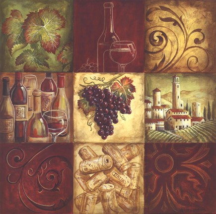 grapes and wine kitchen decor knives sets tuscan ii fine-art print by gregory gorham at ...