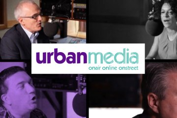 Urban Media Logo with 4 DJs in the background