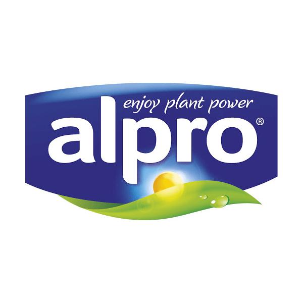 Blue and green Alpro logo on white field