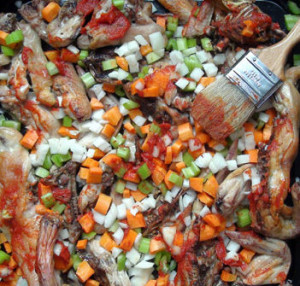 Roasted carcasses and mirepoix