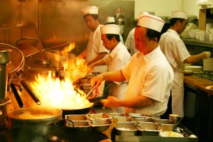 Restaurant woks at work