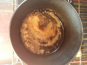 When the butter in your Dutch oven sizzles, it's time for batter
