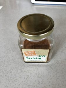 All herbs and spices get a clean, airtight glass jar with a dated label.