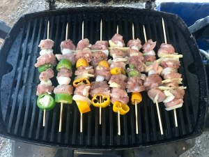 Place skewers close together to help keep things moist and juicy