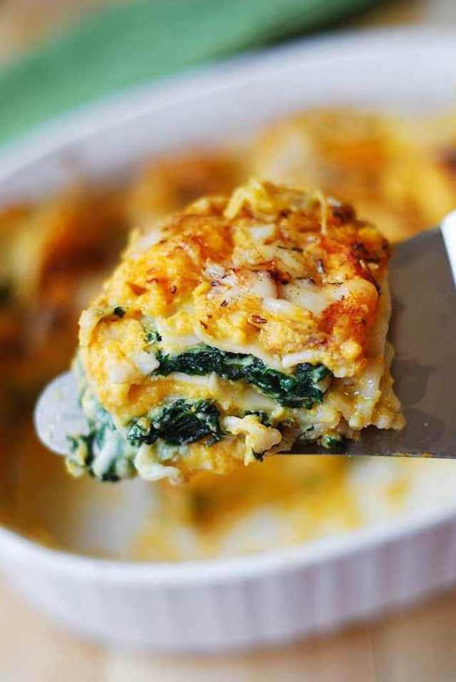STYLECASTER | 15 Veggie-Packed Winter Pastas That Are Comforting and Good For You | Butternut Squash and Spinach Lasagna