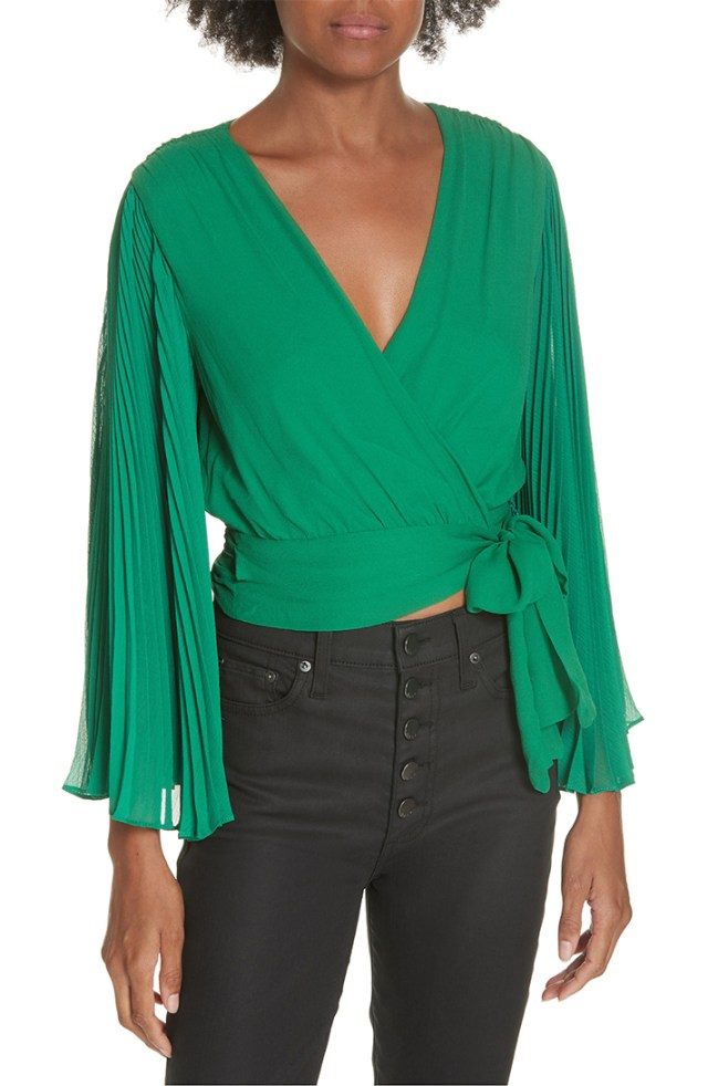 STYLECASTER | Going Out Tops | Bray Pleat Sleeve Wrap Top