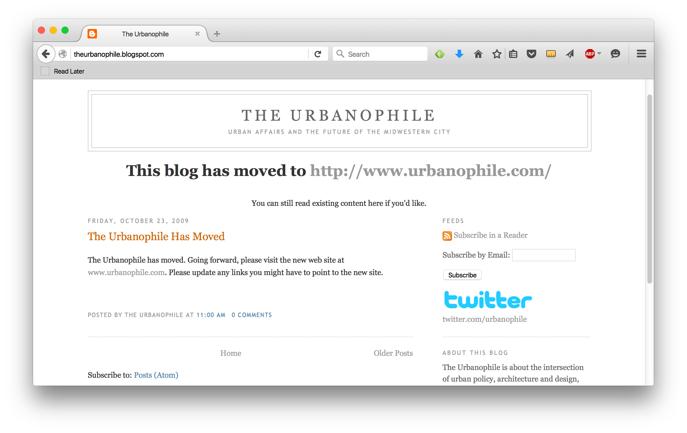 A screenshot of my original The Urbanophile blog, still redirecting after all these years.