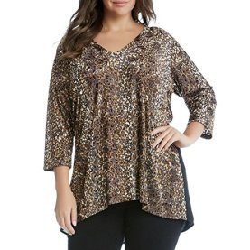 Plus Burnout Animal Print Blouse