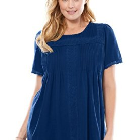 Plus Size Lace-Trimmed Cotton Tunic