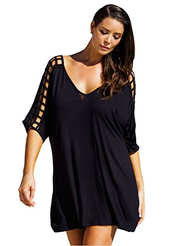 Cutout Swim Cover-Up Top Black