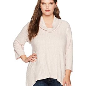 Cowl-Neck Brushed Rib Jersey Top