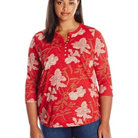 Plus Size Red Floral Top
