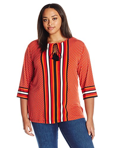 Diamond Stripe Print Mix Tunic