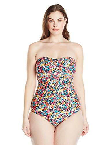 Shirred Bandeau One Piece Swimsuit