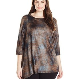 Plus Size Sleeve Asymmetric Hem Tee