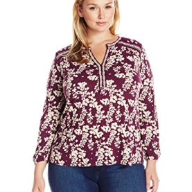 Plus Size Mixed Peasant Top