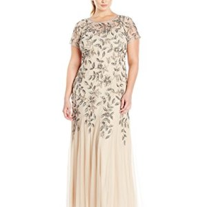 Floral Beaded Godet Gown