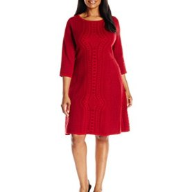 3/4 Sleeve Fit Flare Sweater Dress