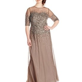 3/4 Sleeve Beaded Illusion Gown