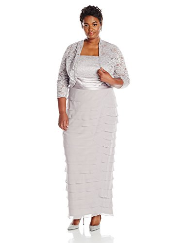 Women\'s Plus Size Lace Jacket Dress With Artichoke Skirt