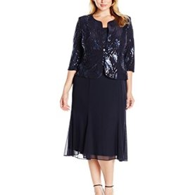 Sequin Mock Jacket Tea Length Dress