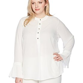 Button Front Top With Pleated Cuffs