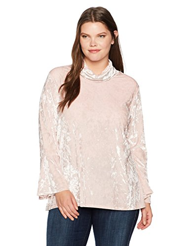 Mock-Neck Crushed Knit Velvet Tunic Top