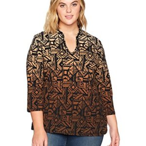 Funnel-Neck Border Printed Top