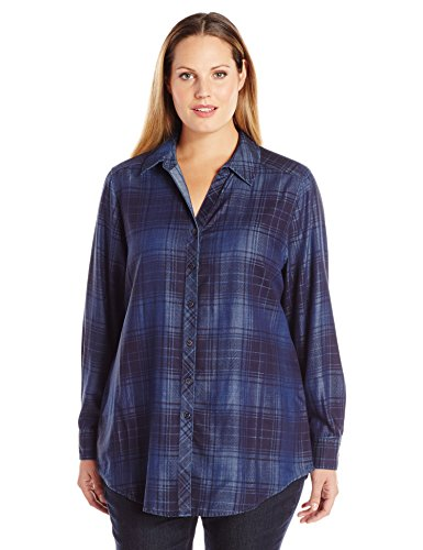 Long Sleeve Tartan Denim Tencel Tunic