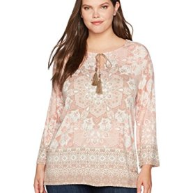 a6f30bd1d4d Ruby Rd. Women s Plus Size Split-Neck Intricate Medallion Border Printed  Knit Top