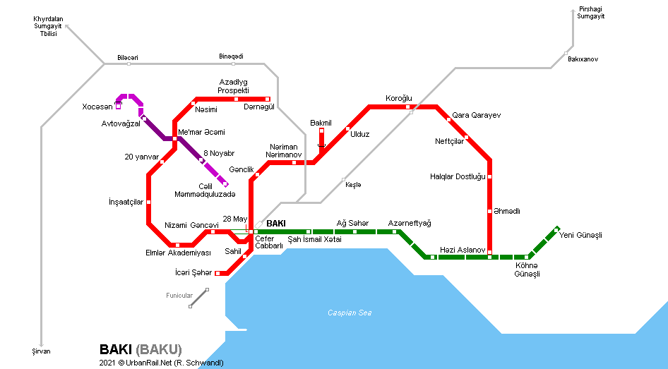 Baku Metro Map © UrbanRail.Net