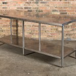 Oversized Vintage American Industrial Stainless Steel Commercial Kitchen Counter With Spacious Undershelf